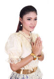 Woman wearing typical thai dress pay respect Royalty Free Stock Photo