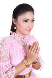 Woman wearing typical thai dress pay respect Royalty Free Stock Images