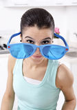 Woman wearing unique glasses Stock Photography