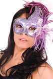 Woman wearing Venetian mask. Royalty Free Stock Images