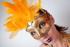 Woman Wearing Venetian Mask Stock Photos