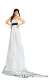 Woman wearing very long silver dress stands. Beautiful woman wearing very long silver dress stands and looks seriously isolated on white background Royalty Free Stock Photos