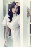 Woman wearing vintage dress Royalty Free Stock Photography