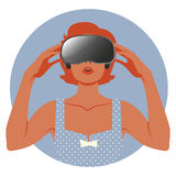Woman wearing Virtual Reality Glasses. Woman wearing virtual glasses. Vintage style Royalty Free Stock Photography