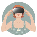 Woman wearing Virtual Reality Glasses. Woman wearing virtual glasses. Vintage style Royalty Free Stock Photos