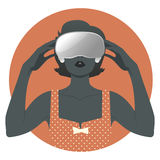 Woman wearing Virtual Reality Glasses. Woman wearing virtual glasses. Vintage style Stock Photo