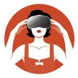 Woman wearing Virtual Reality Glasses. Woman wearing virtual glasses. Vintage style Stock Photography