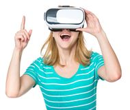 Woman with VR glasses Royalty Free Stock Images