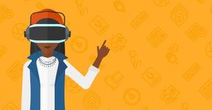 Woman wearing virtual reality headset. Stock Image