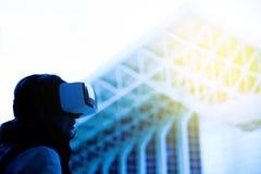 Woman wearing a virtual reality headset Royalty Free Stock Image