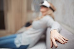 Woman wearing Virtual reality headset Royalty Free Stock Images