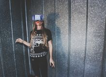 Woman Wearing Vr Glasses Royalty Free Stock Photo