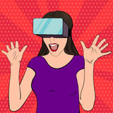 Woman wearing vr glasses Stock Photography