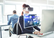 Woman wearing VR Virtual Reality Headset with Interface. Digital composite of Woman wearing VR Virtual Reality Headset with Interface Stock Image