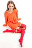 Woman wearing warm clothes Royalty Free Stock Photography
