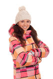 Woman wearing warm clothes Stock Images
