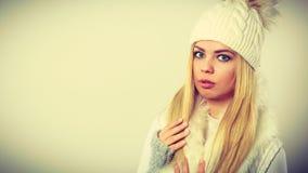 Woman wearing warm winter clothing Royalty Free Stock Photo
