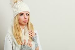 Woman wearing warm winter clothing Royalty Free Stock Images
