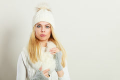 Woman wearing warm winter clothing Stock Photography
