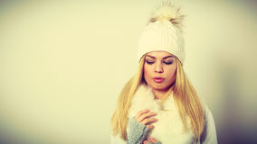 Woman wearing warm winter clothing Royalty Free Stock Photos