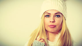 Woman wearing warm winter clothing Stock Image