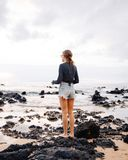 Woman Wearing Washed Blue Denim Shorts Stock Images