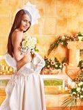 Woman wearing wedding dress. Royalty Free Stock Photo