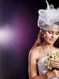 Woman wearing wedding dress . Royalty Free Stock Photos