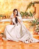 Woman wearing wedding dress. Royalty Free Stock Photos