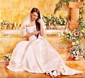 Woman wearing wedding dress. Stock Photography