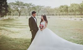 Woman Wearing Wedding Dress Standing Beside a Man Wearing Tuxedo Royalty Free Stock Image