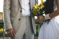 Woman Wearing White Dress And Holding Bouquet Royalty Free Stock Images