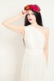 Woman Wearing White Greek Tunic Stock Photography