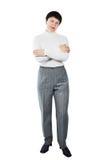 Woman Wearing White Knitted Turtleneck Royalty Free Stock Photos