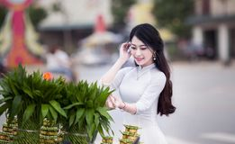 Woman Wearing White Long-sleeved Dress Photo royalty free stock images