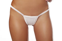 Woman wearing white panties Royalty Free Stock Images