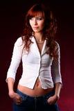 woman wearing white shirt Royalty Free Stock Image