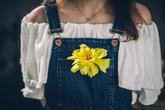 Woman Wearing White Strapless Dress and Blue Denim Dungaree Stock Photography
