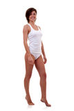 Woman wearing white undershirt Stock Photography