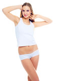 Woman wearing white underwear Royalty Free Stock Images