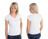 Woman wearing white v-neck t-shirt Royalty Free Stock Photos