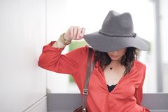 Woman wearing wide brimmed hat Royalty Free Stock Photos