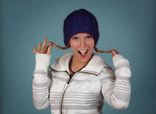 Woman wearing winter clothes Royalty Free Stock Image