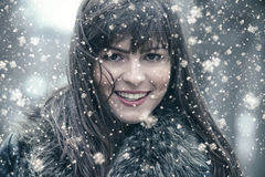 Woman wearing winter clothes, cold weather Stock Images