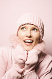 Woman wearing winter coat and hat. Royalty Free Stock Images