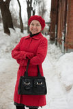 Woman wearing a winter coat outdoor Stock Photos