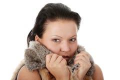 Woman wearing winter fur Stock Image