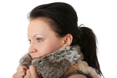 Woman wearing winter fur Stock Photo