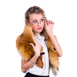 Woman wearing winter fur scarf Royalty Free Stock Photo