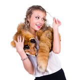 Woman wearing winter fur scarf Royalty Free Stock Images